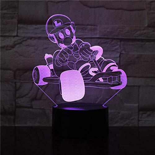 Lámpara de ilusión 3D Luz de noche LED Oferta económica Mario Racing 7 colores Chang Decoración de dormitorio para dormir Regalo de amor Mejor cumpleaños Regalos de vacaciones para niños
