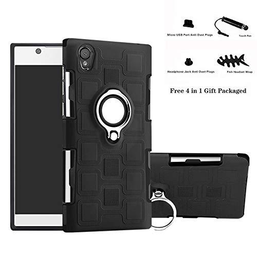 Labanema Sony Xperia L1 / E6 Hülle, Ring Kickstand 360 Grad rotierenden Fingerring Grip Drop Schutz Stoßdämpfung Weichen TPU Cover für Sony Xperia L1 / E6-Schwarz