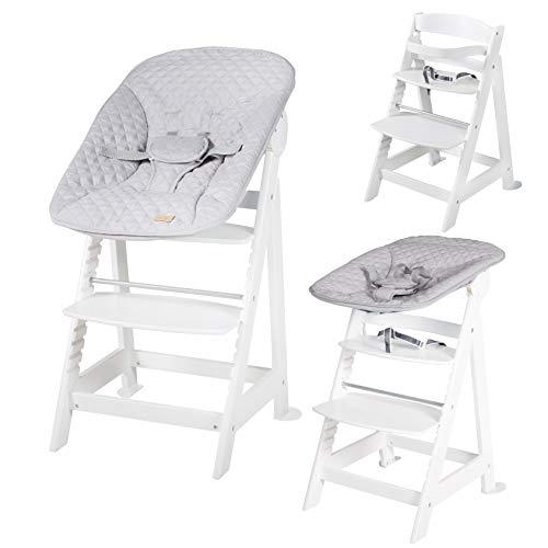 """roba Born Up Treppenhochstuhl, Set 2in1, """"roba Style grau"""", mit 2-fach verstellbarem Aufsatz für Neugeborene"""