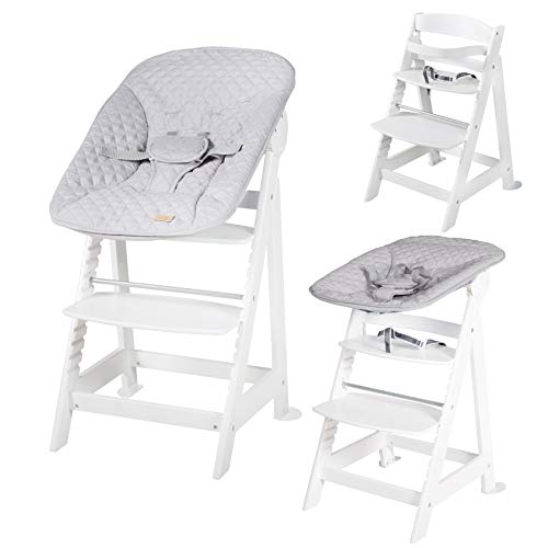 """roba Born Up Treppenhochstuhl, Set 2in1, """"roba Style grau"""", mit 2-fach verstellbarem Aufsatz für Neugeborene 1"""