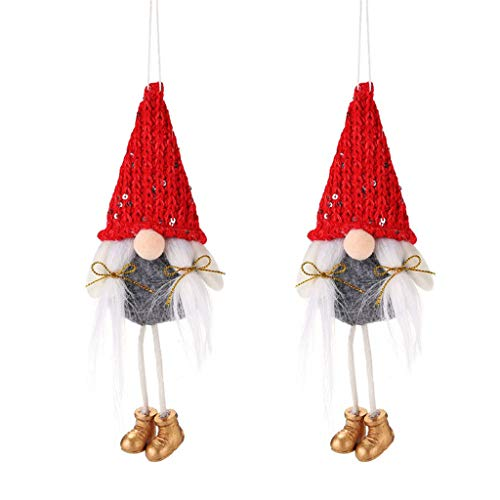 XUXI 2PCS Christmas Decoration Knitted Faceless Doll Pendant Creative Old Man Doll Creative Window Door Decoration Ornament