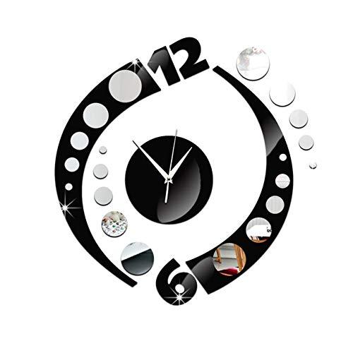 ZYLBDNB Persönlichkeit stumme Wanduhr, Unique Home Decorationm Mirror Effect Camber Dot Wall Clock Modern Design Geometric Wall Hours Wall Sticker Home Ornament,Black