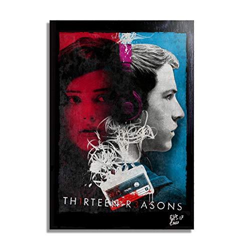 Clay Jensen y Hannah Baker de 13 Reasons Why - Pintura Enmarcado Original, Imagen Pop-Art, Impresion Poster, Impresion en Lienzo, Cuadro, Comics, Cartel de la Pelicula
