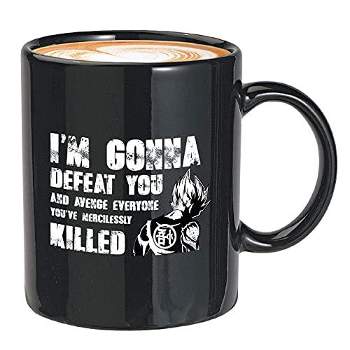 N\A Taza de café de Anime Voy a derrotarte y vengar a Todos los Que tengas sin piedad Dragon Songoku Bola de Dibujos Animados Japonesa para Amigo 11oz Negro