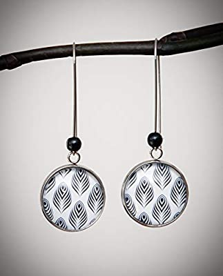 Boucles d'oreilles pendantes plume, noir et blanc, longue dormeuse acier inoxydable argent