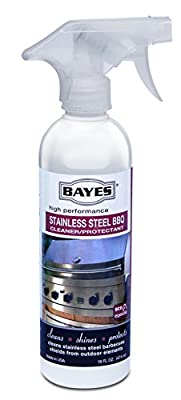 Bayes High-Performance Stainless Steel BBQ Cleaner, Polish, and Protectant - Cleans, Shines and Protects Exterior Stainless Steel Barbecue Surfaces, Shields from Outdoor Elements - 16 oz
