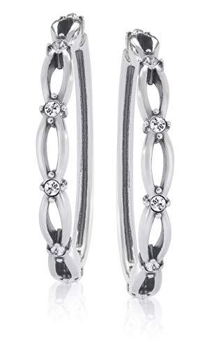 Jenavi Pendientes de aro de plata con cristales de Swarovski para mujer