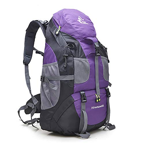 50L Waterproof Ultra Lightweight Hiking Backpack,Frameless,Outdoor Sport Daypack Travel Bag for Climbing Camping Touring Mountaineering Fishing (Purple)