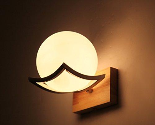 Applique Bois Minimaliste Creative LED Lampe de Mur de Style Japonais, Salon Couloir Couloir Chambre Chevet Murale