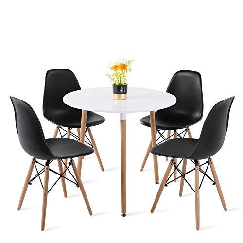 H.J WeDoo Esszimmergruppe mit 1 Tisch 4 Stühle, Moderner Rund Tisch mit 4 Schwarz Skandinavisch Stühle für Küche, Garten, Cafeteria, Bar