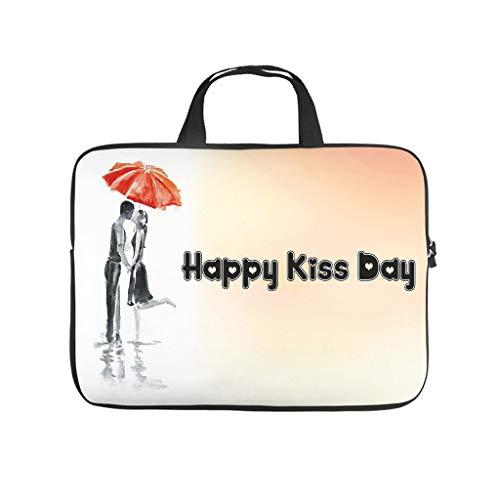 Happy Kiss Day - Bolsa para ordenador portátil, resistente a los arañazos, con estilo para el trabajo o el negocio