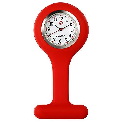 Lancardo Reloj Enfermera con Cubierta Silicona Redondo Reloj de Bolsillo Médico de Movimiento Cuarzo NO Impermeable Reloj con Dial de Báscula Digital Rojo