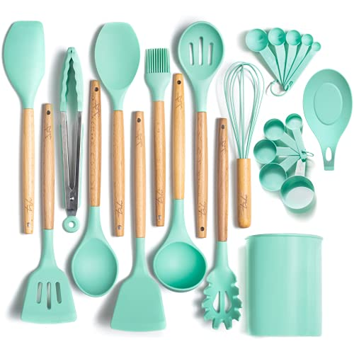 ODORLESS 13 Pc Silicone Cooking Utensil Set with Holder (Teal/Turquoise/Blue, Beech Wood Handle) - Kitchen Gift Cookware Tools and Utensils Sets w Spatula Tool, Spoons   Silicone w Wooden Handles