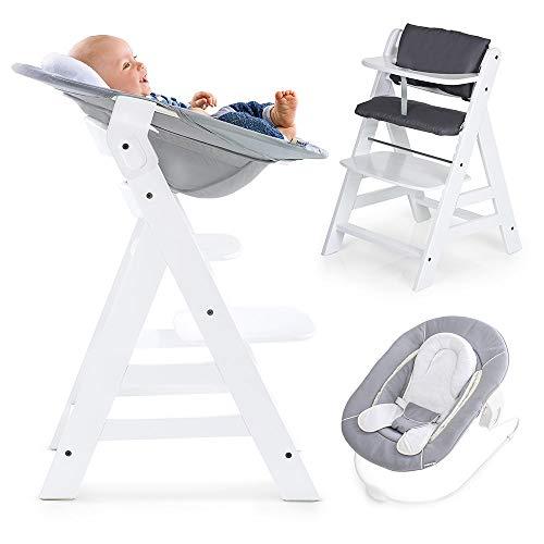 Hauck Alpha Newborn Set - Baby Holz Hochstuhl ab Geburt mit Liegefunktion inkl. Aufsatz für Neugeborene und Hochstuhlauflage, mitwachsend, höhenverstellbar - White Grey
