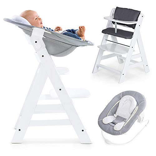 Hauck Alpha Plus Newborn Set - Trona de madera evolutiva bebés, incluye hamaca para recién nacidos, cojín gratis, altura regulable - color blanco/gris