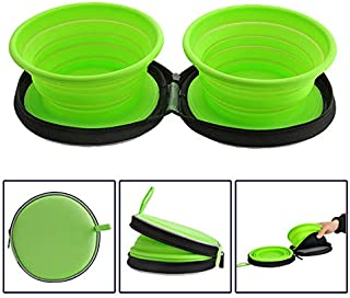 Mogoko Food-Grade Silicone Collapsible Dog Bowl Set,BPA Free Foldable Expandable Pet Food Water Feeding Cup Dish for Outdoors Travel Camping Hiking(2 Pack)