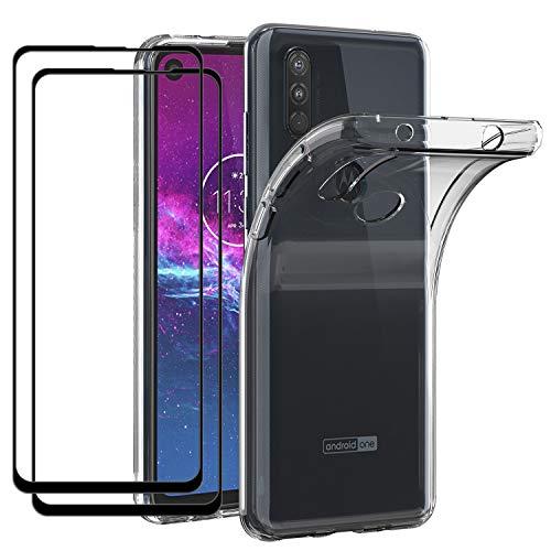 ivoler Hülle für Motorola Moto One Action mit 2 Stück Panzerglas [Volle Bedeckung], Klar Dünne Weiche TPU Silikon Transparent Stoßfest Schutzhülle Durchsichtige Handyhülle Kratzfest Hülle