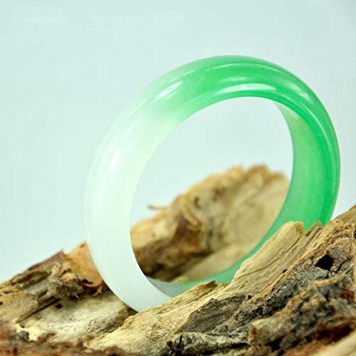 GGMWDSN Pulsera, Pulseras Piedras Naturales Mujer, Jade Verde, Pulsera de Jade Birmano Jade Pulsera de Jade de Roca de Cuarzo Semi-Verde con Caja de Regalo,54mm-56mm