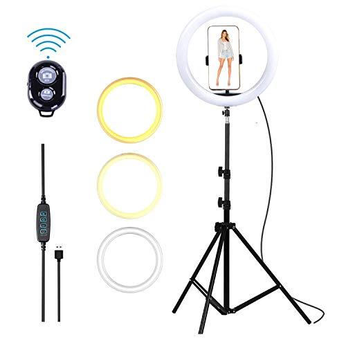 Viewm 360 ° Rotación 10'' Anillo de luz Modo 3 10 Anillo de luz LED Regulable, Soporte de luz, para iPhone Control de teléfono Inteligente con Control Remoto para Autorretrato