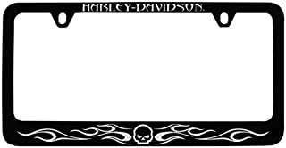 Harley-Davidson Willy G Skull & Flames, Black License Plate Frame Holder