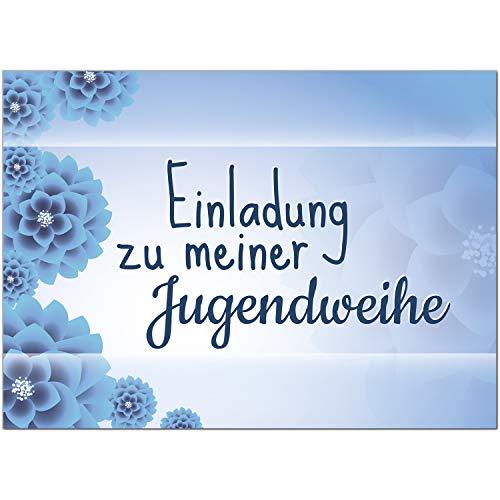 15 x Einladungskarten zur Jugendweihe mit Umschlag/blau Blumen für Jungen und Mädchen/Jugendweihekarten/Einladungen zur Feier