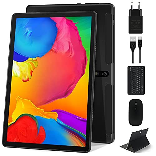 Tablet 10 Pollici Android 10, MEBERRY 8-Core 1.6 GHz 4GB+64GB Veloce Tablet PC-Google GMS-128GB Espandibili | 8000mAh| Bluetooth| GPS| Fotocamera(5MP+8MP), Mouse e Tastiera, Grigio(Solo WiFi)