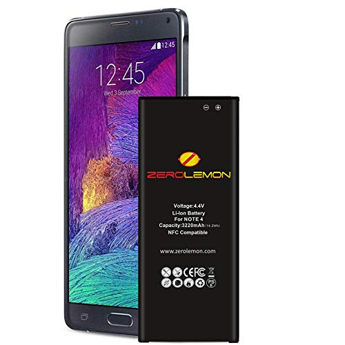 Zerolemon Note 4 Battery, Galaxy Note 4 3220mAh Slim Battery for Galaxy Note 4 [N910, N910U LTE, AT&T N910A, Verizon N910V, Sprint N910P, T-Mobile N910T]