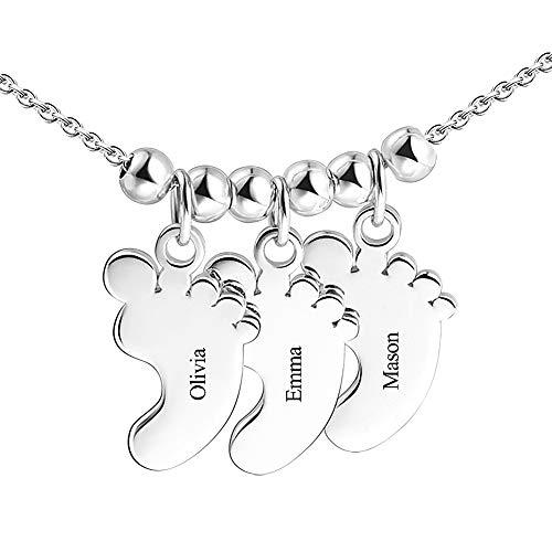 SOUFEEL Collar Nombre Personalizado Colgante Plata de Ley Huella de Bebe Cadena Ajustble