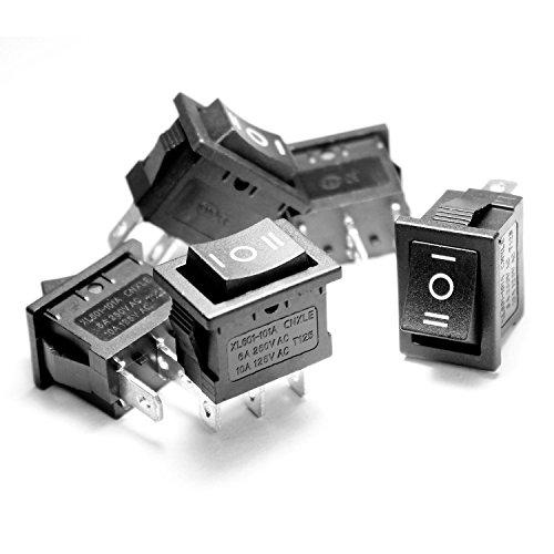 Ytian SP3T Rechteckiger Kippschalter fürs Armaturenbrett zum Ein-/Ausschalten des Lichts (An/Aus/An), kurzzeit-Kippschalter, 3-polig, AC10A, 125 V/6 A, 250 V, 5 Stück