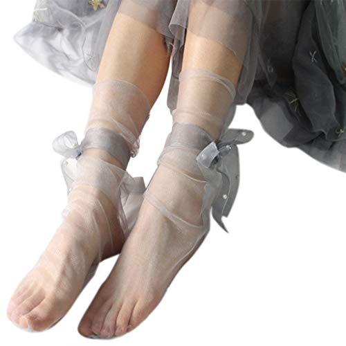 Y-POWER Calcetines de tobillo para mujer, estilo vintage, ultrafinos, con lazo, perlas de imitación, malla transparente, de tul