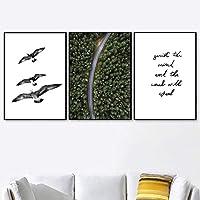 3ピース家の装飾壁アートキャンバス絵画カモメ道路の森は風景北欧のポスターを引用し、リビングルームの壁の写真を印刷しますフレームなし 35x50cm*3