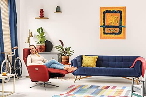 Scandico TV-Sessel Sessel Bosse / Drehbarer Relax-Sessel mit 2-motorischer Rücken- und Fußteil-Verstellung / Herz-Waage-Position / 74 x 107 x 90 / Leder Rot