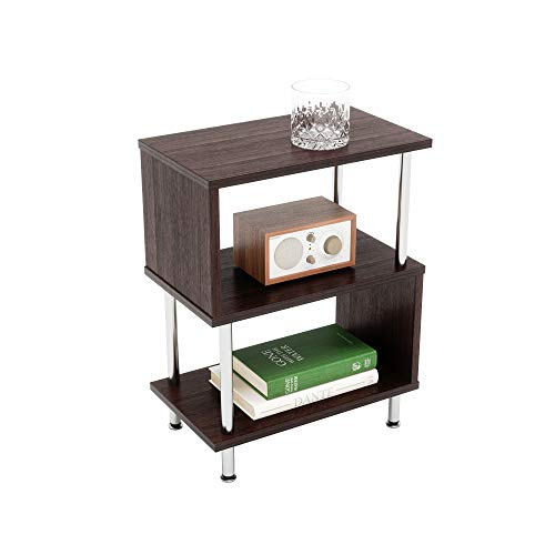 Bestier Side Table 3 Tier S-Shaped, Small Nightstand Bedside Table End Table with Storage Shelves...