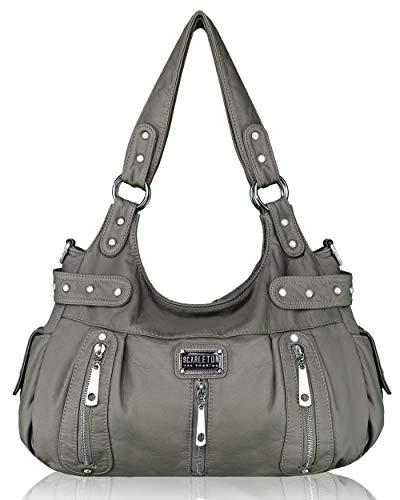 Scarleton Satchel Handbag for Women, Ultra Soft Washed Vegan Leather Crossbody Bag, Shoulder Bag, Tote Purse,Ash Grey, H129224