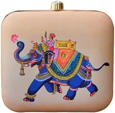 Classy Traditional Elephant Printed Clutch Bag for Women, Satin Clutch with sling Chain