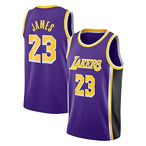 WEIZI Lebron James #23 Camiseta de Baloncesto para Hombres - NBA Lakers Camiseta de Jugador de Básquetbol Bordado Transpirable y Resistente al Desgaste Camiseta de Fan de Hombres,Púrpura,XXL