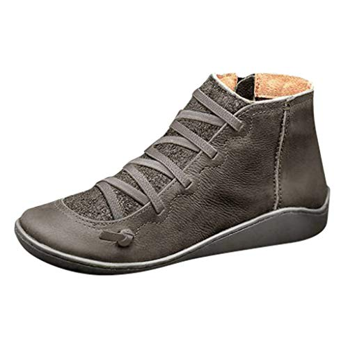 Woolkey Women's Winter Boots Retro Western Warm Shoes Casual Non Slip Snow Boots Round Toe Platform Waterproof Flat Boots Lace Up Zipper Ankle Boots for Ladies Trekking Travel (Gray, 8.5)