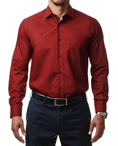 Alessandro Tonelli Alessandro Tonelli Herren Klassik Hemd Business Bügelleicht Freizeit Hochzeit Feier Basic Regular Fit Shirt U03-063, Farbe:Rot, Größe:39 / M