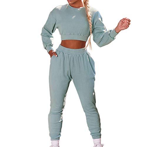 Litthing Traje Chándal Mujer Traje Deportivo Sudadera Sudadera con Capucha de Manga Larga y Pantalón 2 Piezas Ropa de Gimnasio Fitness (Azul, s)