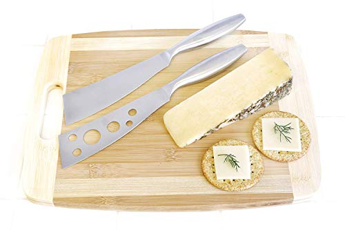 Cheese Knife Set: BlizeTec 2 Pcs Multipurpose Butter, Fruit and Dessert Knives with 4 Slate Markers, 1 Soapstone Chalk and 1 Gift Bag