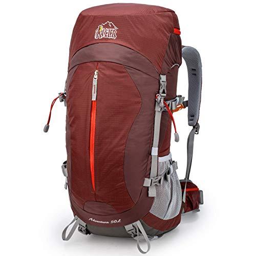 Aveler 50Liters Unisex Lightweight Nylon Internal Frame Hiking Backpack with Rain Cover