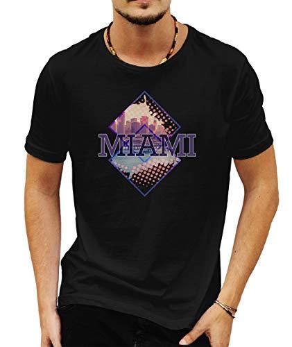 Wild Soul Tees Georgios Miami Lifestyle Estados Unidos de América - Camiseta para Hombre Negro Negro (L