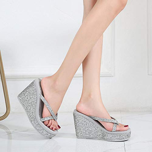 Sandalias de tacón alto para mujer de Towells 2020, de plata pura 40