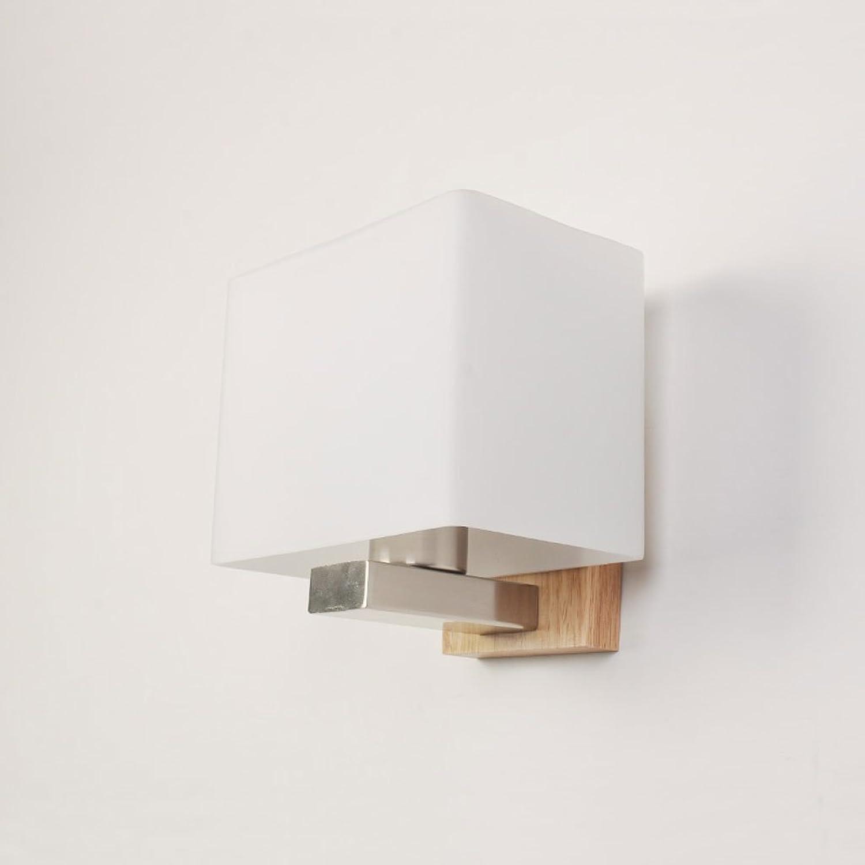 Einfache moderne LED Wandleuchte Massivholz Nachttischlampe Schlafzimmer Wohnzimmer Gang Hotel Nordic Lampen