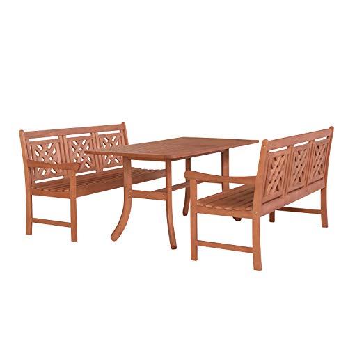 Vifah V189SET51 Malibu Outdoor 3-Piece Patio Curvy Legs Table Dining Set, Natural Wood