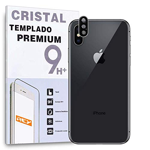 REY Protector de Pantalla 3D para Cámara Trasera de iPhone X - iPhone XS - iPhone XS MAX, Plata, Cristal Vidrio Templado Premium, 3D / 4D / 5D
