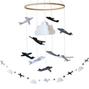 Crib Mobile by Sorrel + Fern- Airplanes & Cloud Nursery Decoration- Grey, Black Monochrome Baby Crib Mobile for Boys