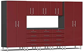 Ulti-MATE UG22091R 9-Piece Garage Cabinet Kit with Channeled Worktop in Ruby Red Metallic