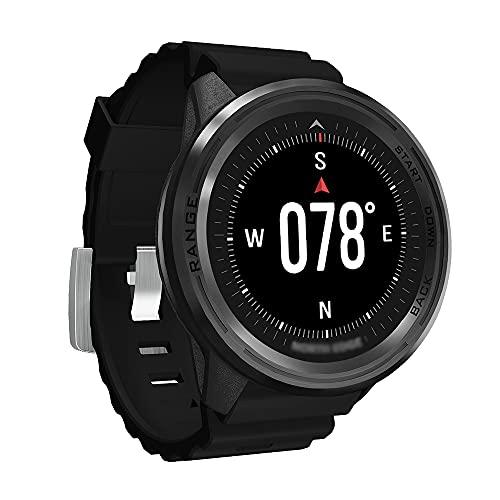 NJZY Deportes Inteligentes al Aire Libre GPS Reloj Impermeable Altitud Presión de Aire Brújula Termómetro Reloj de Buceo Multifuncional,Black