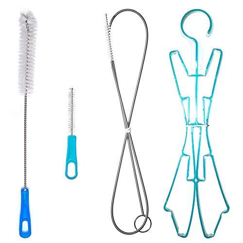 CSDSTORE Reinigungskit für Trinkblasen Reinigungsbürste Reinigungsbürsten für Wasserblase Trinkrucksäcke Reinigungsset Reinigung Kit 4 in 1